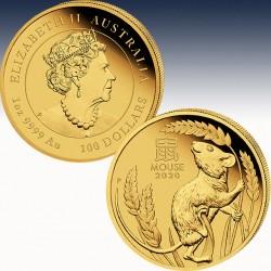 """1 x 1 Oz Goldmünze 100$ Australien """"Lunar 3 Jahr der Maus 2020"""" -BU-"""