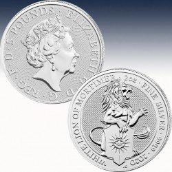 """1 x 2 Oz Silber 5 Pfd Vereinigtes Königreich The Queens Beasts """"The White Lion of Mortimer 2020"""" -BU-*"""