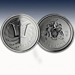 1 x 1 oz Silbermünze 1$ Barbados...