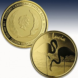 "1 x 1 oz Goldmünze 10$ St. Lucia ""Flamingo 2019"" -PL-in Certi-Lock®"