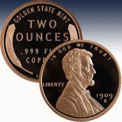 """1 x 2 oz Copper Round """"Lincoln Wheat..."""