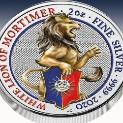 "1 x 2 Oz Silber 5 Pfd Vereinigtes Königreich The Queens Beasts ""The White Lion of Mortimer 2020"" -Colorized-*"