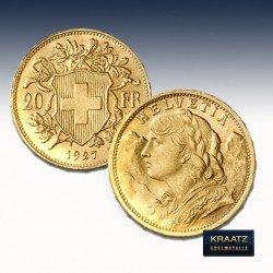 1 x 20 Franken Vreneli Gold div....