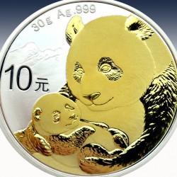 1 x 30 Gramm Silbermünze 10 Yuan...